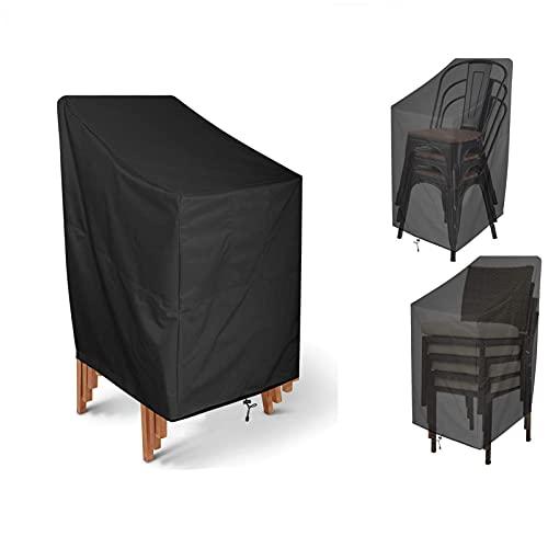 KXHWSH Abdeckung Für Stapelstuhl Für Terrasse, 420D Oxford Stoff, Schneeschutz/Wasserdicht/Atmungsaktives/Staubdicht, Für Möbel Schutzabdeckung Garten Outdoor(schwarz)