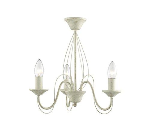 Lighting Collection 700004 - Lampadario E14, 60 watt, a semi-sospensione, effetto spazzolato, colore: panna/oro