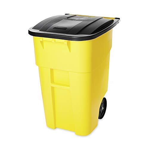 Rubbermaid Commercial Products BRUTE Rollout Heavy-Duty Wheeled Trash/Garbage Can - 50 Gallon - Yellow