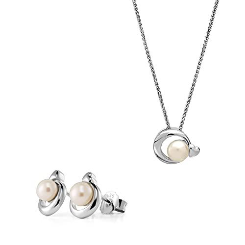 Orphelia Juego de pendientes de plata 925 + colgante con cadena redonda con corazón y perla de agua fresca.