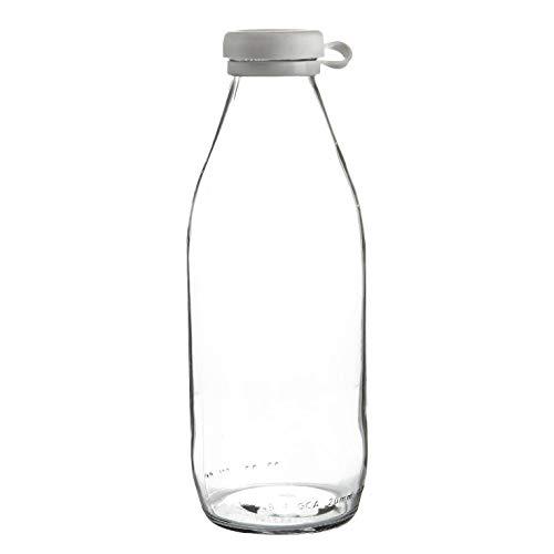 Argon Tableware Botella de cristal de leche con la tapa de silicona - nevera grande de almacenamiento garrafa Decanter - 1 Litro