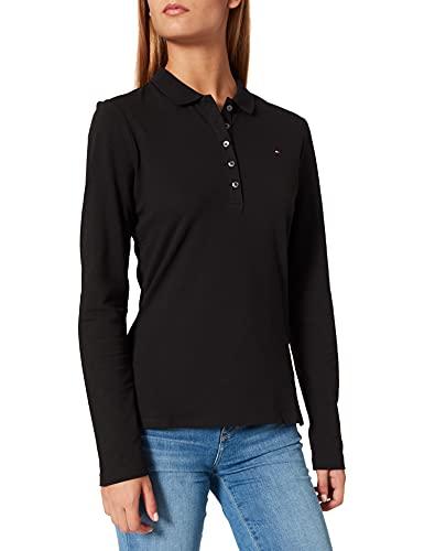 Tommy Hilfiger Damen Long Sleeve Slim Polo Polohemd, Schwarz, XXX-Large