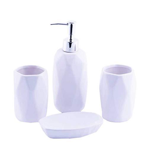 Homevibes - Set di accessori da bagno, in ceramica, set da bagno completo, 4 pezzi, composto da portasapone, dispenser di sapone, porta spazzola e bicchiere (bianco)