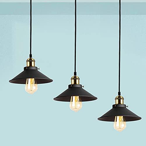 Oursun Industrial Lámpara de Techo, Vintage Lámparas Colgantes Retra Luz de Pantalla Metal Iluminación para Bombilla E27, para Cocina Sala Comedor, Negro