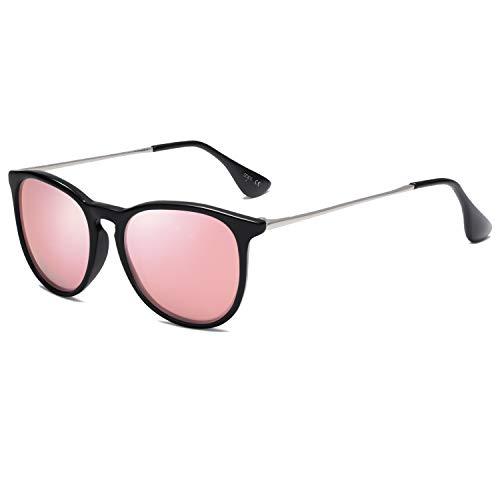 SOJOS Gafas De Sol Clásico Redondo Vintage Polarizado Para Mujer Hombre SJ2093 Marco Negro/Lente Espejo Rosado