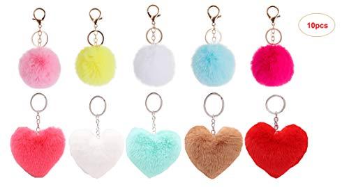 10Stück Schlüsselanhänger Plüsch Pompom JEANGO herzförmigen Sphärisch Plüsch Schlüsselbund Frauen Tasche Anhänger Kleidung Zubehör Autozubehör