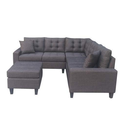 STARTOGOO Sectional Sofa Microfiber with Reversible Chaise Lounge Storage Ottoman and Cup Holders, Charcoal Gray