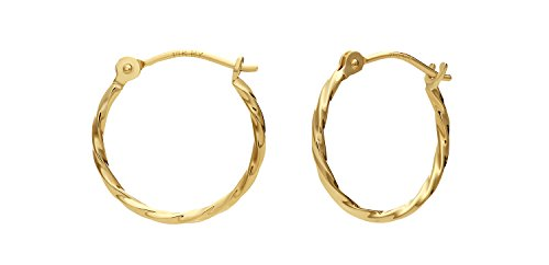 14k Yellow Gold Twisted Round Hoop Earrings (12mm)