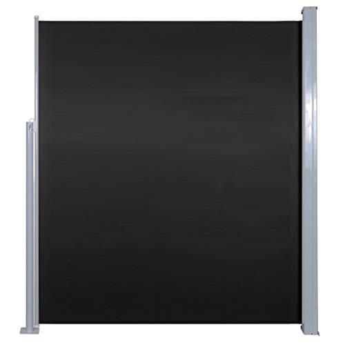 yorten Seitenmarkise Ausziehbare Seitenmarkise Sichtschutz Sonnenschutz Windschutz Wasserfest 500 x 160 cm (B x H) Schwarz Markise für Garten Balkon Terrasse