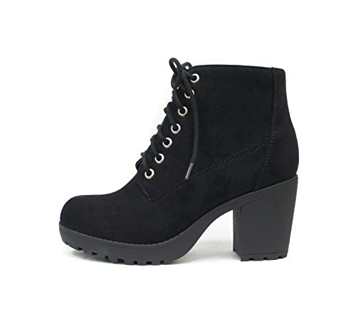 Soda Second Lug Sole Chunky Heel Combat Ankle Boot Lace up w/Side Zipper (7, Black Imitation Suede)