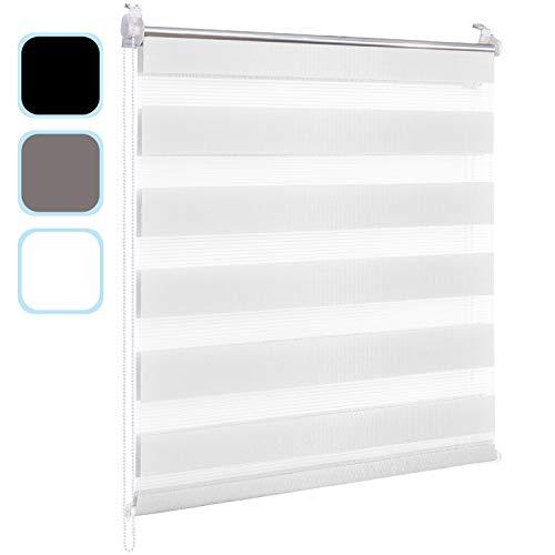 Hengda Doppelrollo Duo Rollo Klemmfix ohne Bohren Seitenzugrollo Easyfix lichtdurchlässig und verdunkelnd 80x150cm Weiß für Fenster und Tür Wohnzimmer