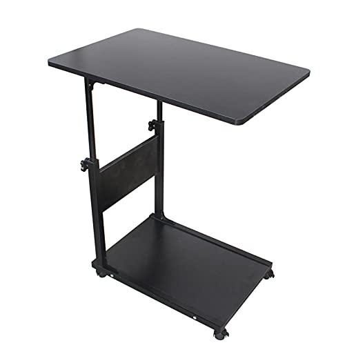 Mesita de noche portátil de color negro, diseño moderno y sencillo para dormitorio, mesa de té, mesa de salón, mini sofá, armario, mesa auxiliar, diseño de esquinas redondeadas, elevación libre
