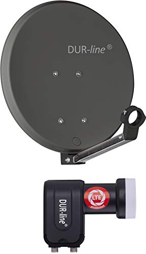 DUR-line DSA 40 cm antracita + Twin LNB – Juego de 2 participantes, espejo de aluminio duro de alto rendimiento – [antena satélite, antena parabólica, camping, balcón, Mini, barco]