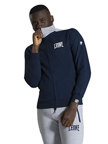 tuta uomo leone LEONE - Tuta da Uomo con Logo Piccolo Basic - Navy Blue-Grey Melange (1004)