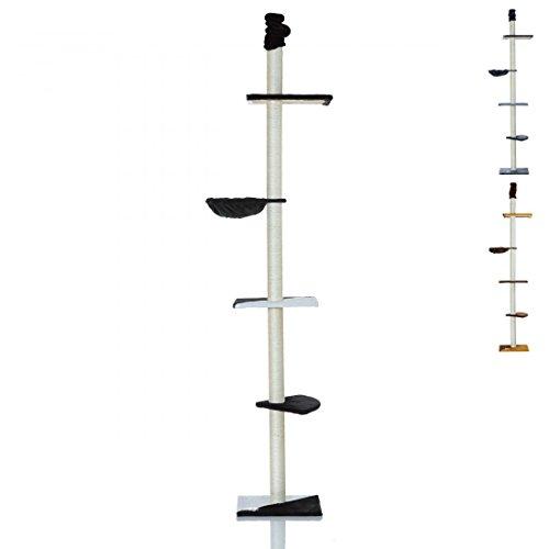 LCP XXL Katzen Kratzbaum Kletterbaum deckenhoch groß | 240-270 cm Höhe | 8 cm Dicke Sisal Säulen; Schwarz
