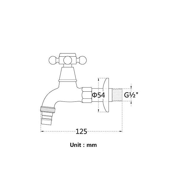 KUNGYO Vintage Grifo de la lavadora con Sola Manija Cruzada Interfaz G1/2 – Grifo en latón de Pared para Baño Lavabo…