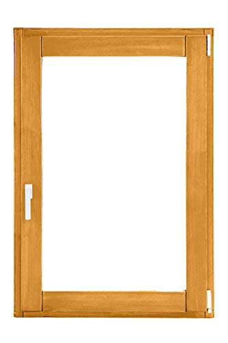 UNICA INFISSI - Finestra 1 Anta In Legno con Anta Ribalta - Verniciato in 6 colori a scelta - Vetrocamera bassoemissivo e antinfortunio - 4 Misure a scelta (870x1455 (Sinistra), T13 Miele)