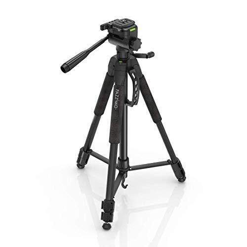 Stativ Kamerastativ für Canon I Fotostativ für Spiegelreflexkameras Tripod mit 165cm Höhe inkl. Handy-Halterung, GoPro-Adapter, 2 Schnellwechselplatten I Farbe Schwarz