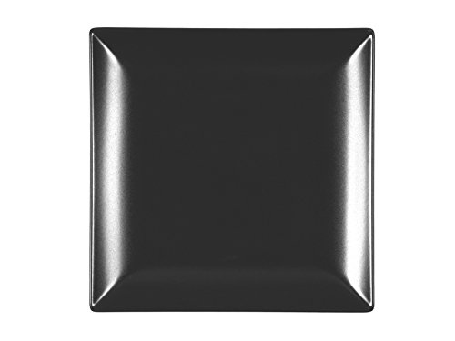 H&H Boston Set mit 6 flachen Tellern, Steingut, Schwarz, quadratisch, 24 x 24 cm