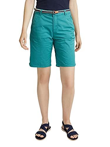 ESPRIT Damen Mit Gürtel, Bermuda Shorts, 370/TEAL Green, 34