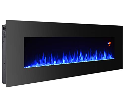 3GPlus 50 Inches Electric Fireplace Wall Mounted Heater Crystal Stone Fuel Effect 3 Changeable Flame Colors Fireplace with Remote, 1500W - Black