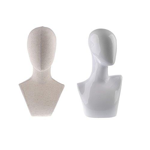Homyl 2pcs présentoir à bijoux pour collier chapeaux perruque bijoux support affichage de bijoux mannequin figurine en lin ou plastique 18 pouces/19,7 pouces