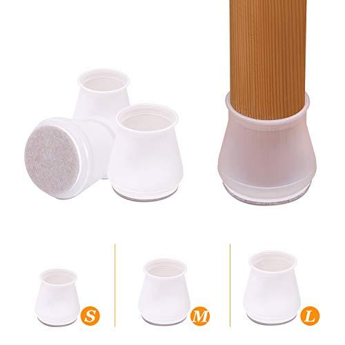 AIRUJIA 24 Stück runde Stuhlbein-Bodenschoner Möbel Silikon Schutz Abdeckung Möbelfüße Cups mit Filz-Pads darunter, Stuhlbeinkappen verhindern Kratzer und Lärm, passend für 1,9 cm bis 2,5 cm, weiß