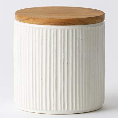 LOLO 保存容器 キャニスター SA00 白 陶器 しのぎ 日本製 SHINKOUGAMA チーク 420ml 30001