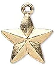 Pendant Jewelry Making for Bracelets and Chains 10 Antiqued Gold Plated Pewter Faceted Double Sided Star Charms ~ 15x15mm