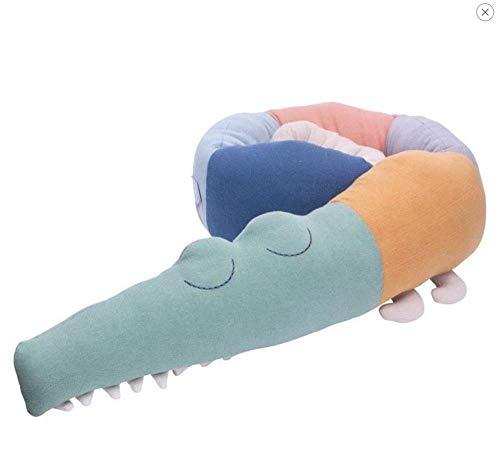 Mooyii Bettumrandung, Krokodil Stil Baby Nestchen Bettumrandung, Kantenschutz Kopfschutz Kinderbett Stoßstange für Babybett (185 cm Länge) (Regenbogenkrokodil)