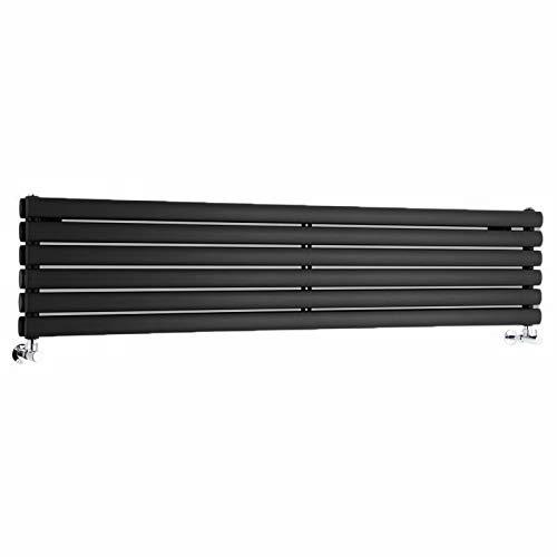 Hudson Reed Vitality – Radiateur Design Horizontal – Noir – 35,4 x 160cm Double Rang