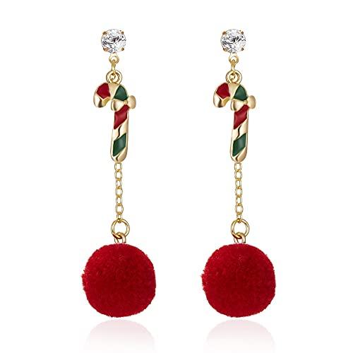 QTSUANNAI Elegante Redondo Rojo Color Dulce Borla Gota Pendientes para Mujeres - Árbol de Navidad Muñeco de Nieve Santa Claus Pendientes Joyería, Caramelos