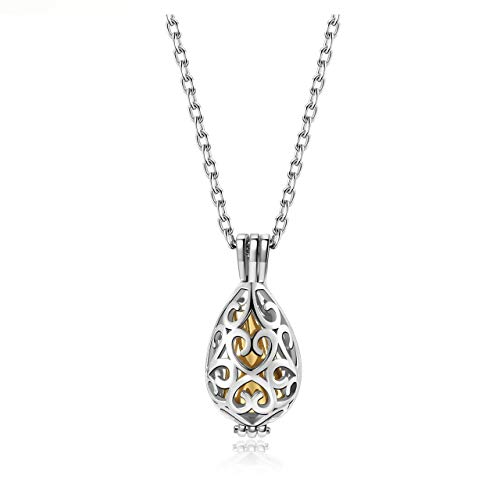 Jovivi Urnen-Halskette für Damen, Edelstahl, Medaillon-Anhänger in Tropfenform, mit Trichter-Set