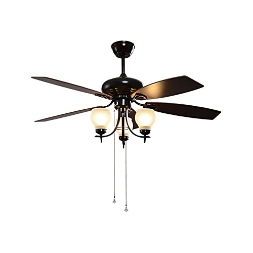 Ventilador de techo con luz 48'Luz del ventilador de techo con interruptor de tracción 3 Lámpesas de vidrio, lámpara de viento ajustable de 3 velocidades Atrapación del ventilador de ahorro de energí