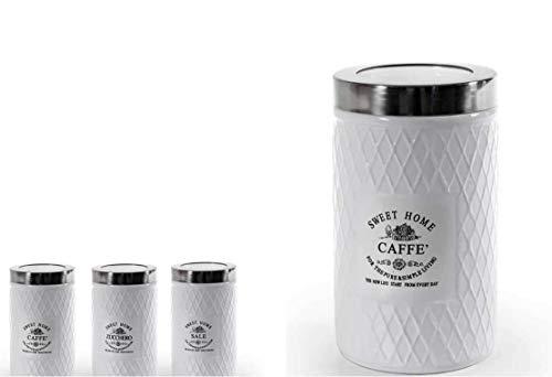 GICOS IMPORT EXPORT SRL - Juego de 3 tarros para sal y azúcar, de cerámica, con tapón transparente, color blanco, 10 x 17 cm, DTC-783449