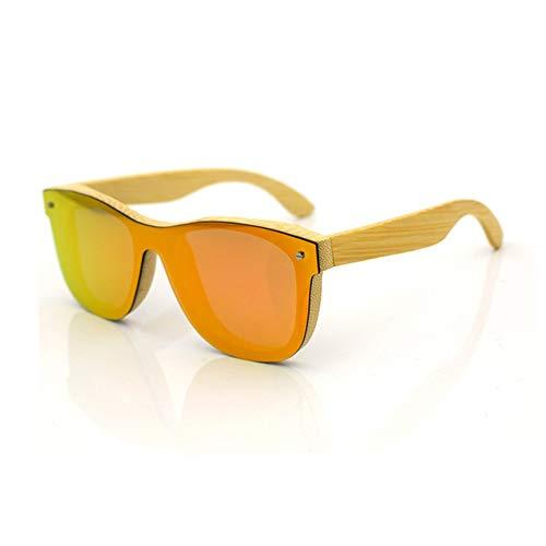 XIAOTANBAIHUO Anteojos Gafas de sol polarizadas de madera para hombres y mujeres Gafas de sol Protección UV Gafas de seguridad (Color : Orange+bamboo)
