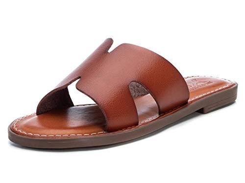 XTI - Sandalia para Mujer - Tacón 1 cm - Color Camel - Talla 36