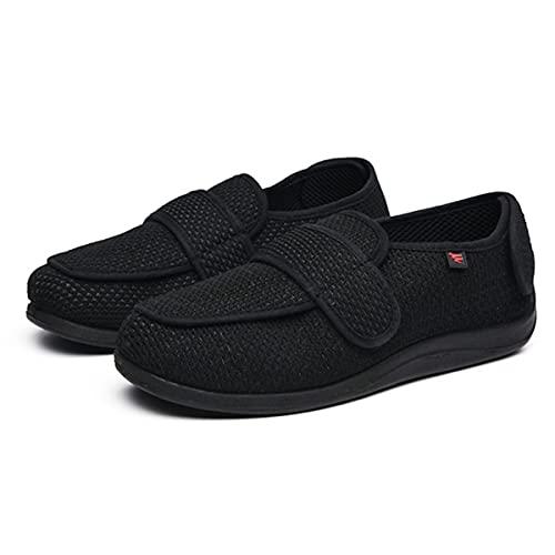 Zapatillas Diabéticas Unisex, Pies Hinchados Zapatos para Caminar Zapatos Edema Ajustables Sandalias Ortopédicas Extra Anchas para Hombres para Hombres Ancianos,Negro,41 EU