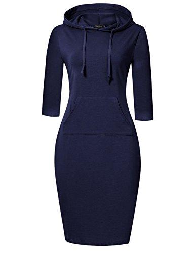 GloryStar Women's Casual Fitted long Sleeve Pullover Pocket Knee Length Sweatshirt Hoodie Dress Navy