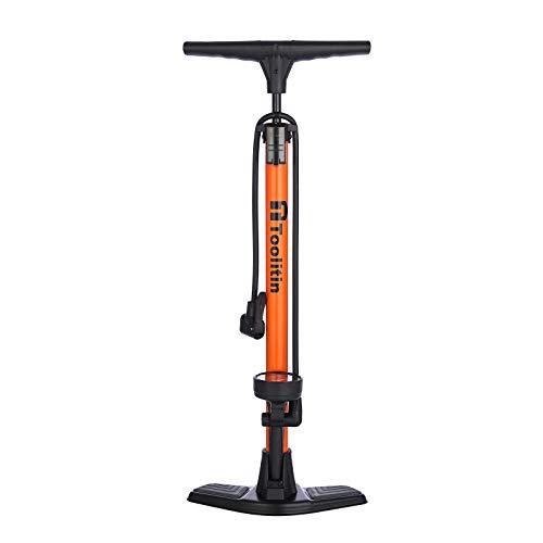 TOOLITIN Floor Bicycle Pump with Gauge,160 Psi High Pressure,Bike Pump Compatible with Presta and Schrader Valve,Bike Tire Pump for Road...