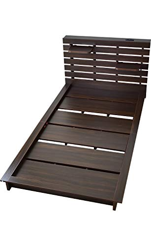 DORIS ベッド ダブル フレームのみ ロースタイル 宮棚 棚板2枚付属 コンセント付き すのこ仕様 組立式 ウォルナット メルバ D
