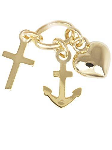 MyGold geloof, liefde, hoop, hanger (zonder ketting) geelgoud 333 goud (8 karaat) mini 13 mm x 5 mm doop geschenk communie gouden hanger kettinghanger geschenken voor vrouwen Favorite V0003666