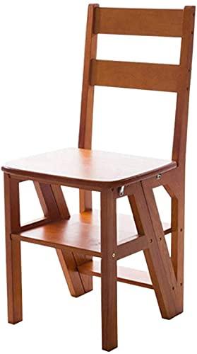 MUZIDP Stiefhocker für Erwachsene Faltbare Leitern Holz Haushalt Mehrzweck Tragbare Trittleiter 4-stufige Leiter Chair Library Pflanzständer Step Hocker (Color : Walnut)