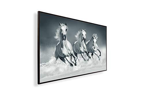 Könighaus Fern Infrarotheizung – Bildheizung in HD Qualität mit TÜV/GS - 200+ Bilder -450Watt - Patentiert - Schwarzer Rahmen(089. Eis Pferde) Black Edition