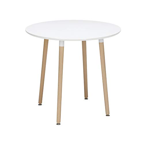 OFM 161 Collection Mid Century Modern 32' Round Dining Table, Solid Wood Legs, in White (161-PT32-WHT)
