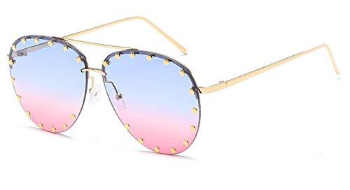 SHANGYUN Gafas de Sol de MediaMontura deMetal para Mujer, Gafas de Remache con Personalidad roja para Mujer,Gafas, protección UV C3bluepink