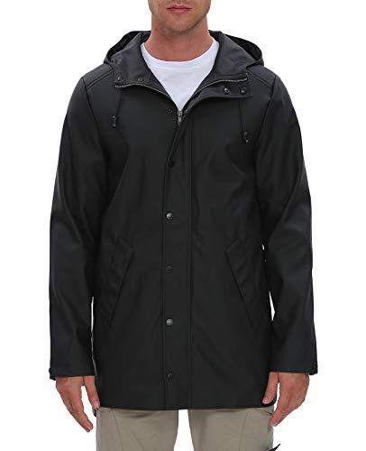 Fahsyee Raincoat Men, Hooded Waterproof Rain Coat Windproof Rain Jacket Mesh Linning Trench Outdoor Windbreaker, Size S