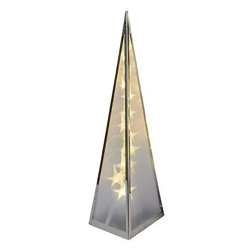 formano beleuchtbare Deko-Pyramide aus Metall, 45 cm, mit 12 LEDs, 1 Stück, Silber, mit Drehmotor und Adapter