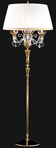 Casa Padrino Luxus Barock Stehleuchte Gold/Weiß Ø 65 x H. 185 cm - Elegante Barockstil Stehlampe mit edlem Kristallglas - Barock Möbel
