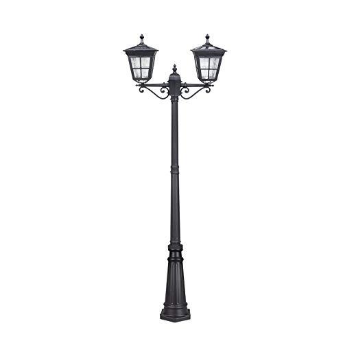 Kemeco ST4311AB1-2 LED Cast Aluminum Double Head Solar Lamp Post Light Street Light for Outdoor Landscape Pathway Driveway Street Patio Garden Yard